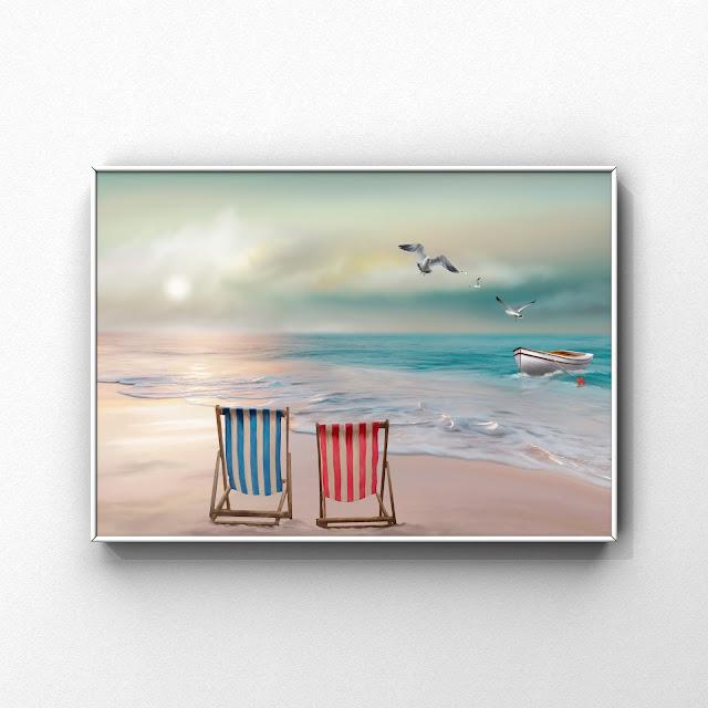 beach, deckchairs on beach, artwork, seagulls, ocean,