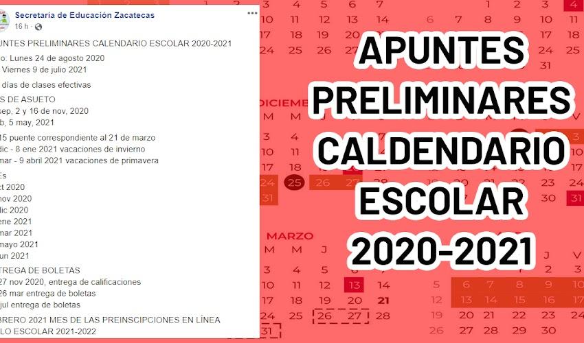 APUNTES PRELIMINARES CALENDARIO ESCOLAR 2020-2021