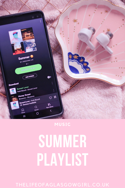 Pinterest Image for Summer Playlist - The perfect Spotify playlist to listen to in summer on Thelifeofaglasgowgirl.co.uk