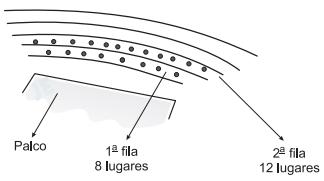 FATEC 2003: Um auditório foi construído de acordo com o esquema abaixo