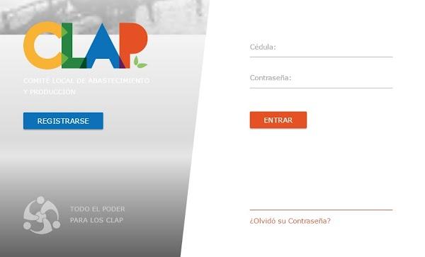 Registrate en la pagina clap.patria.org.ve