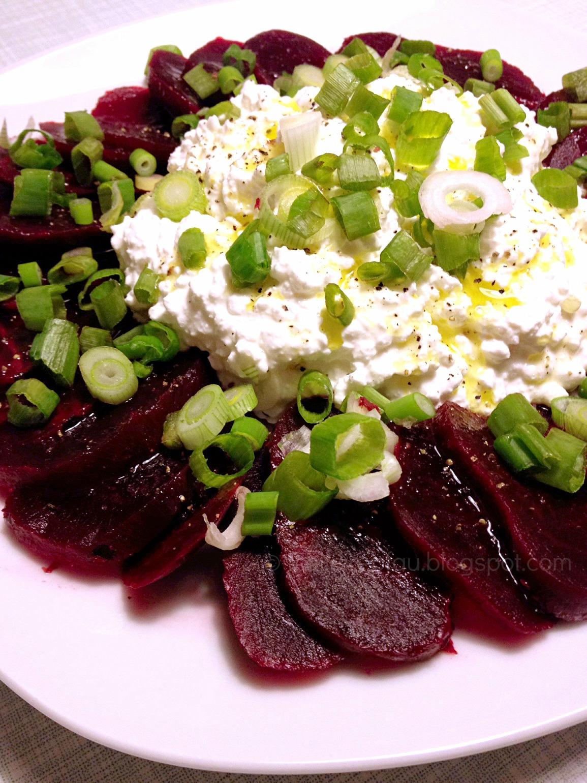 Mmi, Mittwochs mag ich, Capaccio, rote Beete, Salat, Rezept, einfach lecker, kalter Salat, Hüttenkäse, Lauch