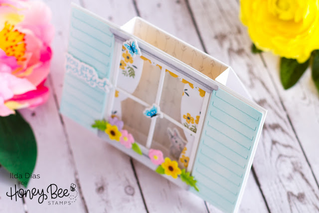 You are Purrrfect Window Scene Bridge Card for Honey Bee Stamps by ilovedoingallthingscrafty.com