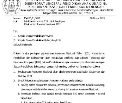 Surat Edaran Pelaksanaan Verval TIK untuk Persiapan Pelaksanaan Asesmen Nasional 2021