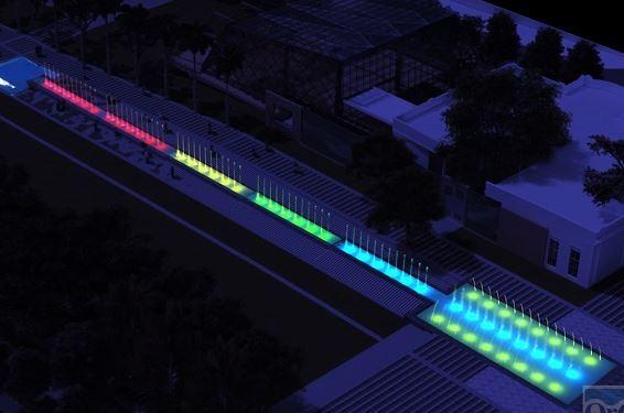 Gobernación del Atlántico construye fuente luminosa en la Gran Plaza de la Paz