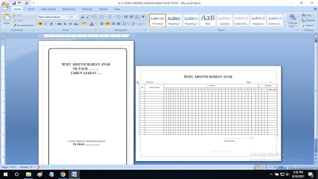Buku Absensi Harian Paud TK KB TPA SPS RA Format doc