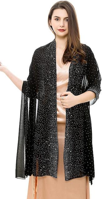 Elegant Black Chiffon Scarves Shawls