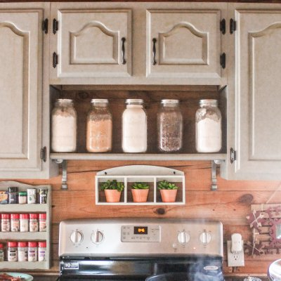 DIY spice shelf above the oven | On The Creek Blog