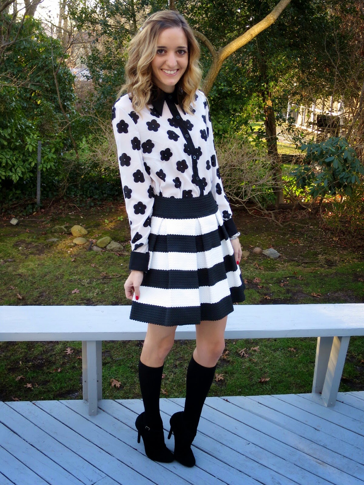 black & white pattern outfit