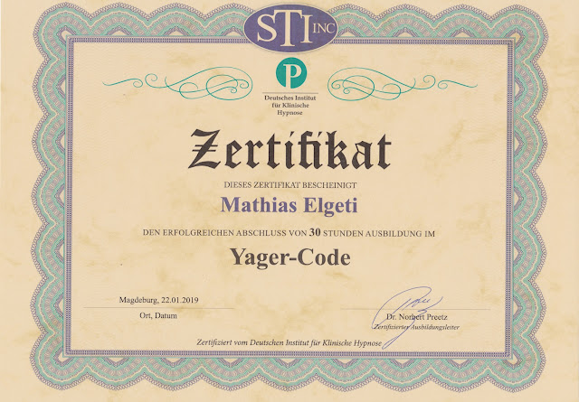 Zertifikat Yager-Code-Hypnose-Ausbildung Mathias Elgeti