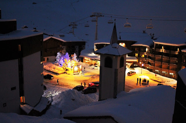 Val Thorens at dusk - ski holiday in the French Alps - travel blog