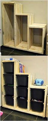 mueble para canastos de ropa con pallets de madera desarmados
