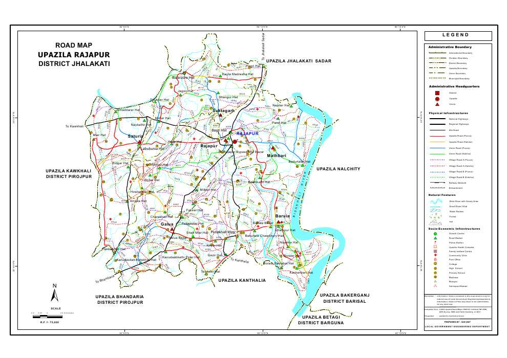 Rajapur Upazila Road Map Jhalokathi District Bangladesh