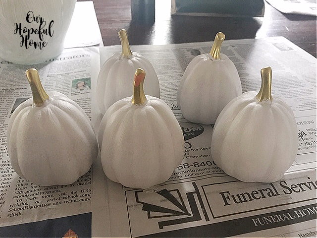 white painted ceramic pumpkins gold stems