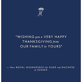 Meghan and Harry send Happy (USA) Thanksgiving Greetings