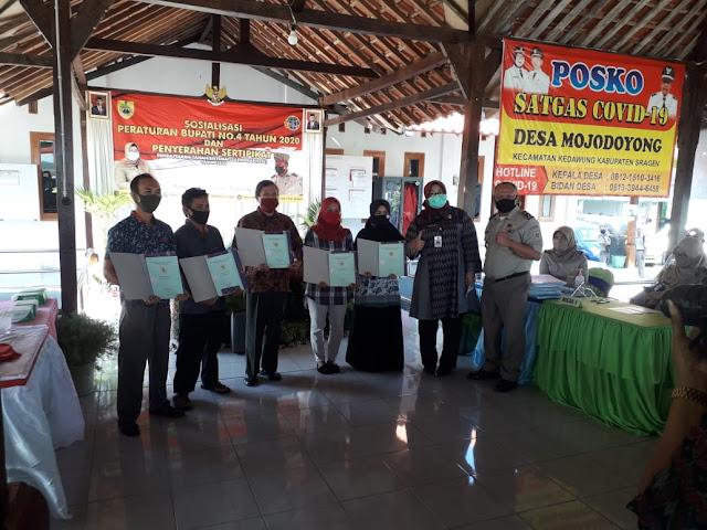 Kodim Sragen - Sertifikat Tanah Program PTSL Untuk 2020 Mulai Didistribusikan Ke Warga Di Desa Mojodoyong