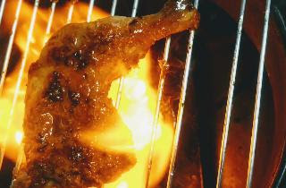 Cooking Tandoori chicken over gas flame for Tandoori chicken recipe on gas top