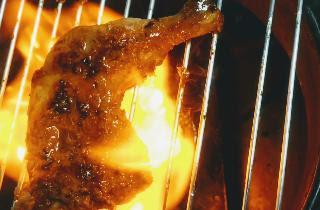 Cooking Tandoori chicken over gas flame for Tandoori chicken recipe on gas top