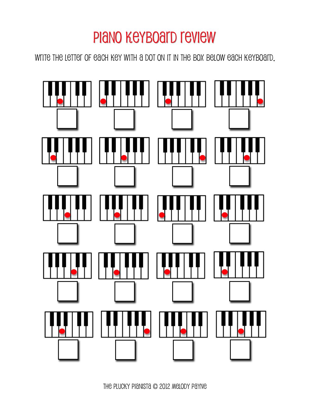 Piano Keyboard Review – Blank Keyboard Worksheet