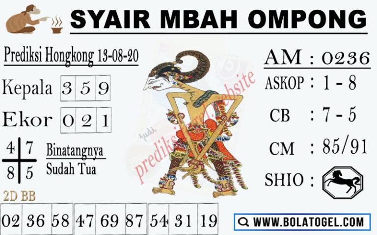 syair hk mbah ompong 13 agustus 2020