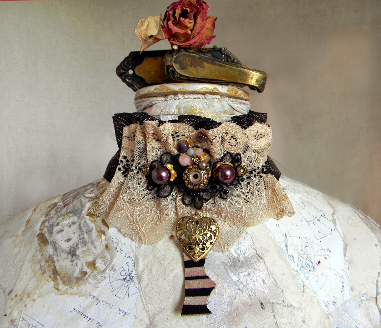 Vintage Inspired Lace and Brocade Choker, Ruffled Neck Piece, Beaded Collar