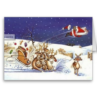 Flying Santa, Beautiful Reindeer - Funny Christmas Card