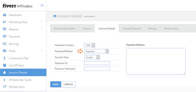How to configure Payoneer on Fiverr affiliate
