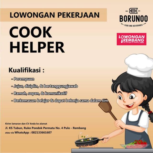 Lowongan Kerja Cook Helper Borunoo Food And Beverages Rembang