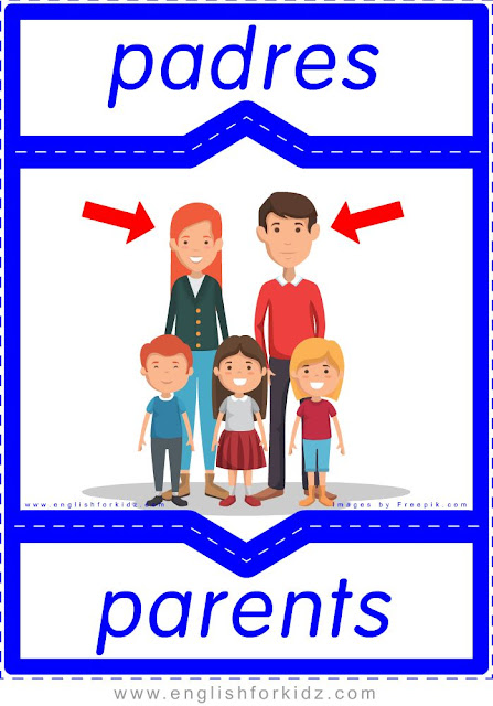 Parents English-Spanish flashcards for the family members topic