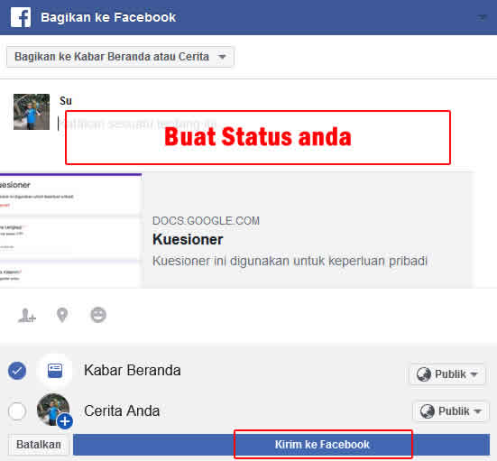 send form melalui facebook