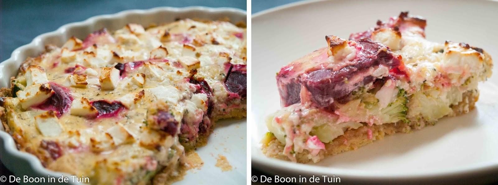 recept quiche rode biet kikkererwten feta glutenvrij vegetarisch