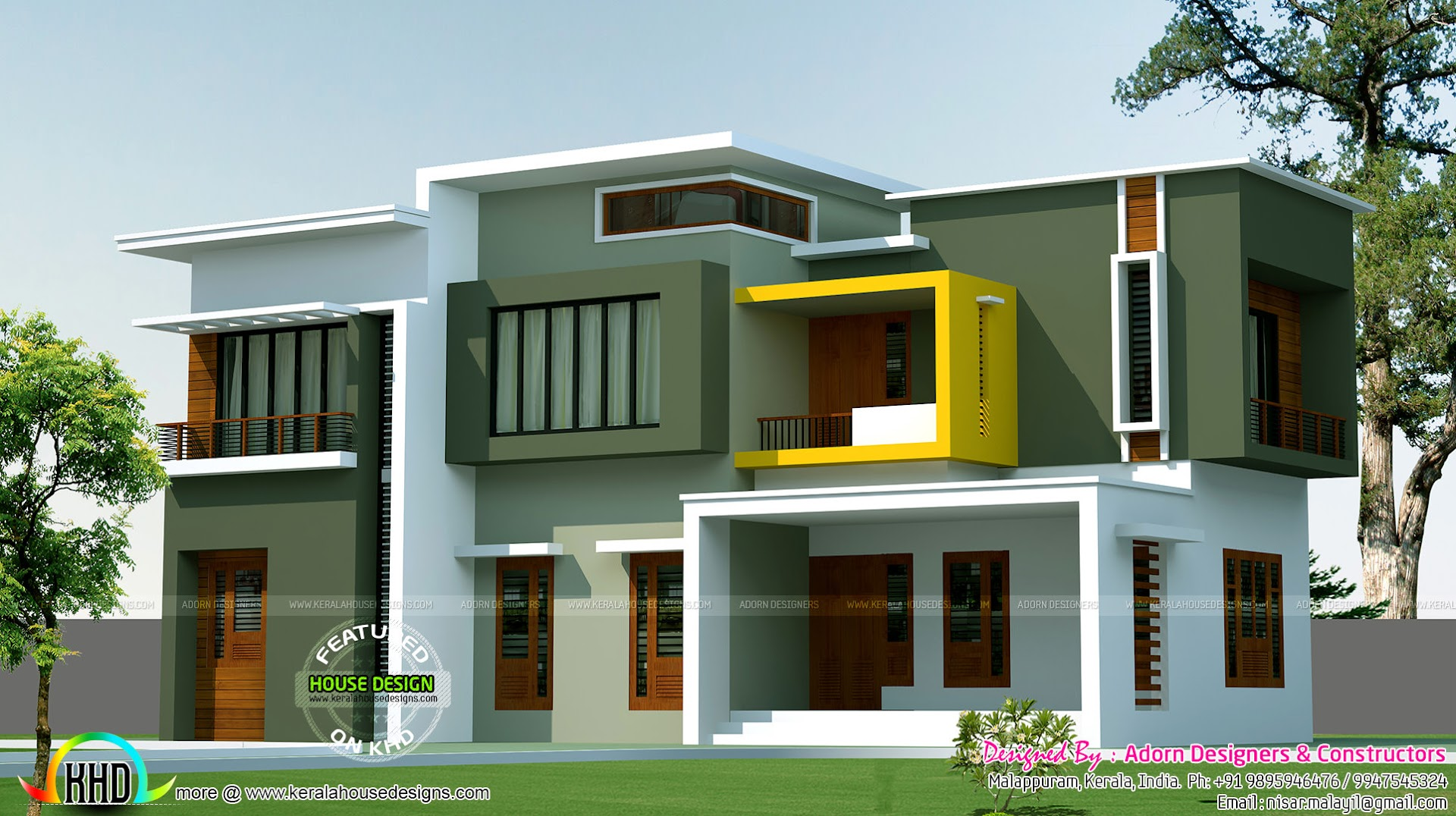 Box model contemporary house 2500 sq ft kerala home for Modern house plans under 2500 square feet