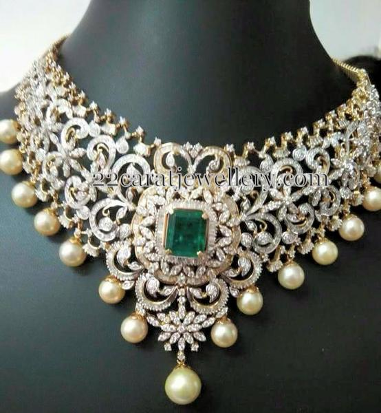 Huge Diamond Choker Jewellery Designs