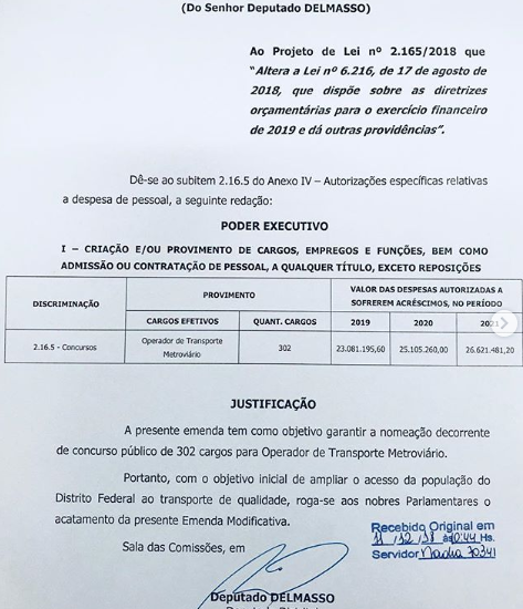DELMASSO APRESENTA EMENDA PARA NOMEAÇÃO DOS APROVADOS NO METRÔ-DF