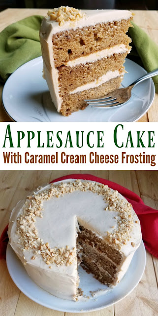 Layers of moist applesauce cake with just enough warm cinnamon wrapped in soft caramel cream cheese frosting is the perfect fall dessert. Make it for your next party!