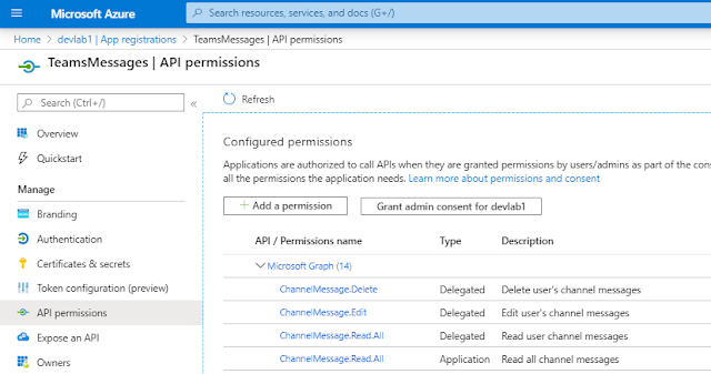 API permissions required for integration