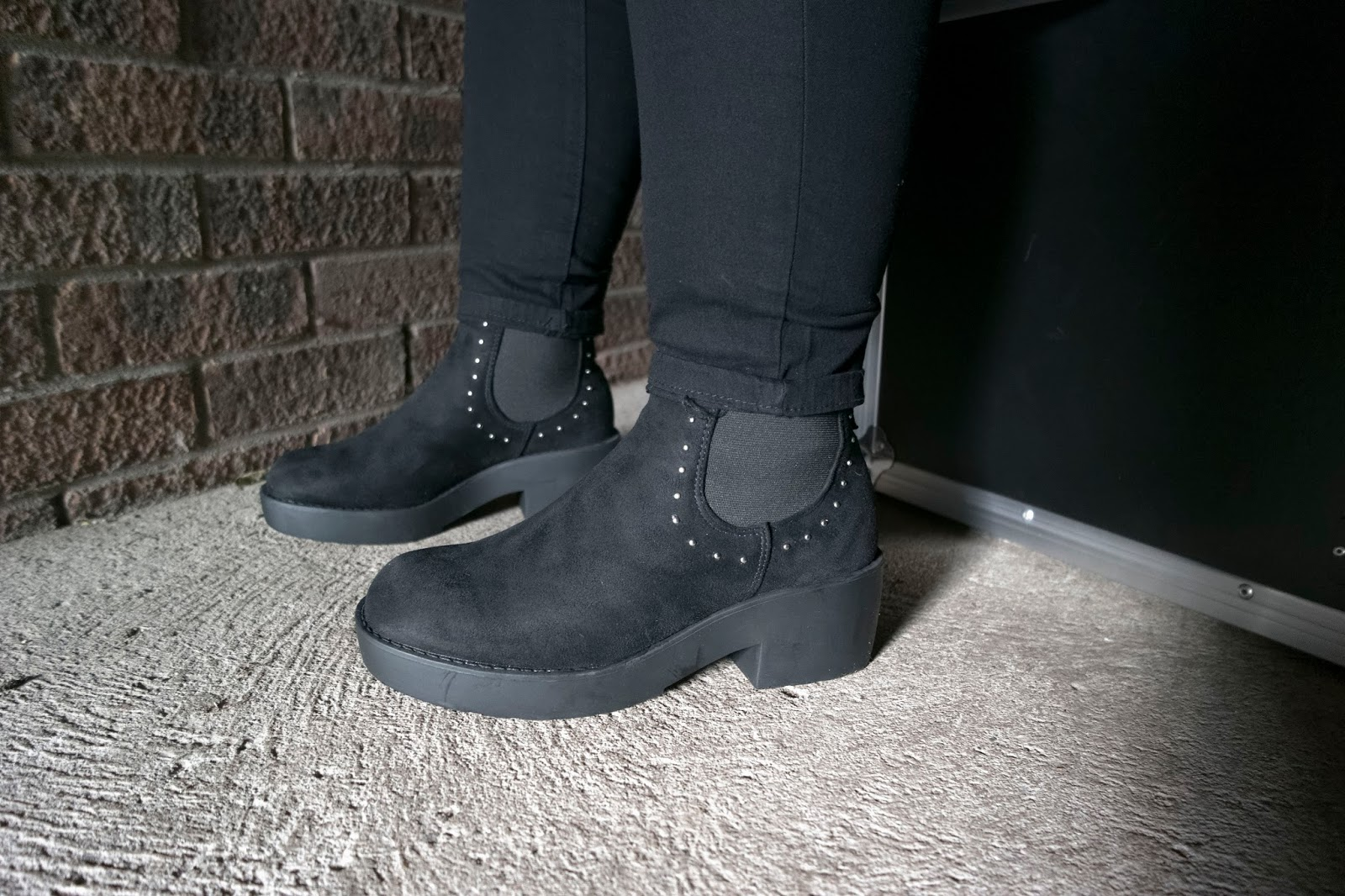 All Black Everything |    LOTD Haul  eyelinerflicks.com  Black Faux Suede Chunky Chelsea Boots