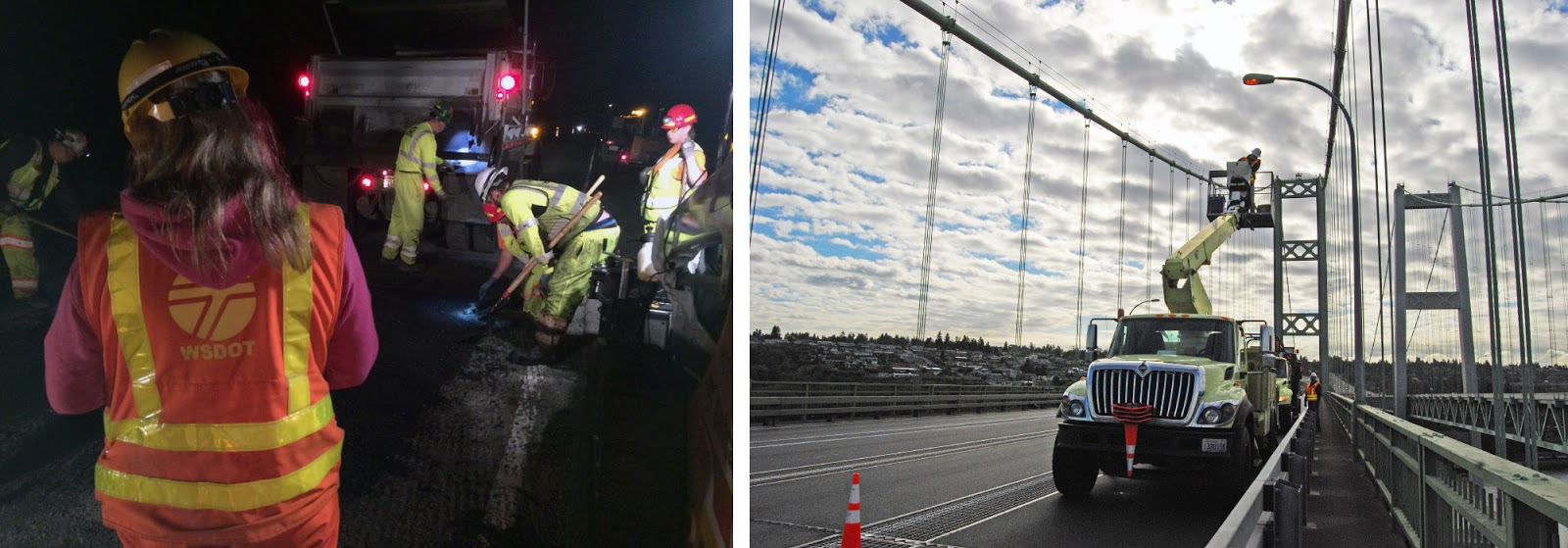 Right: A Crew Takes To The Air For Maintenance Work On The Tacoma Narrows  Bridge