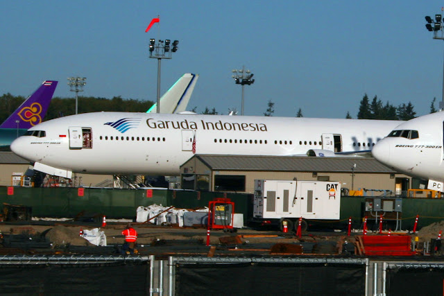 Garuda Indonesia jet on ramp at Boeing plant, Everett, Washington
