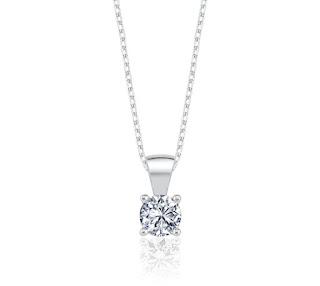 0.60 Karat Effective Diamond Işıltılı Dokunuş Gümüş Tektaş Kolye