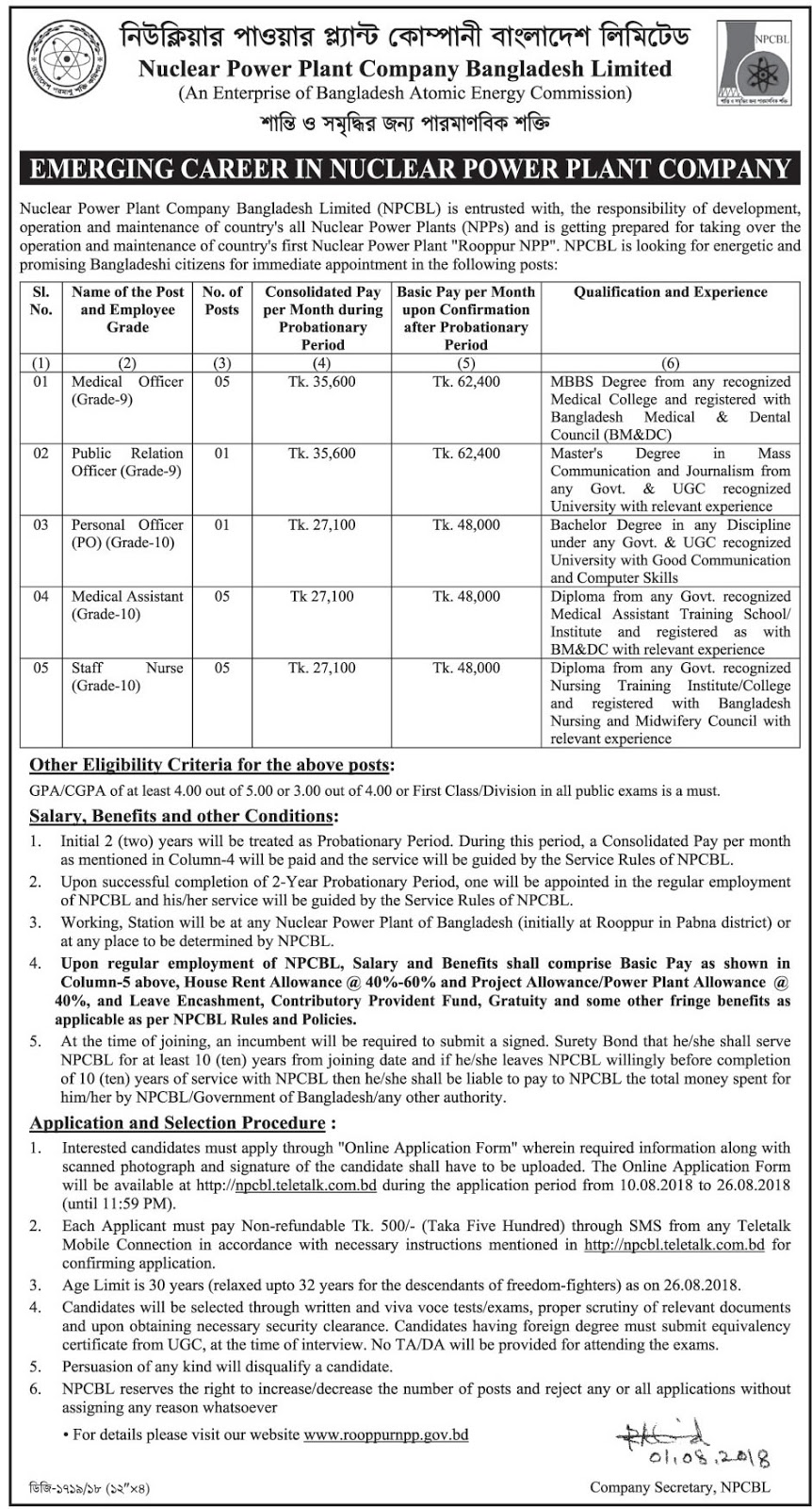 Nuclear Power Plant Company Bangladesh (NPCBL) Job Apply Instruction, Educational Qualification, Salary, Application Fee, Age and Other Information
