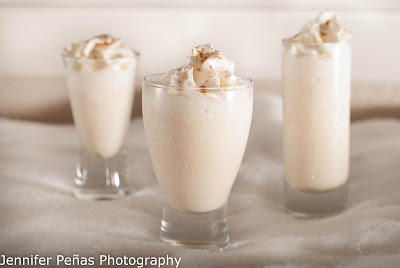 brandy-kissed snowflake, christmas cocktail, vanilla ice cream, brandy, white cream de cacao, ice, ground cinnamon, whipped cream