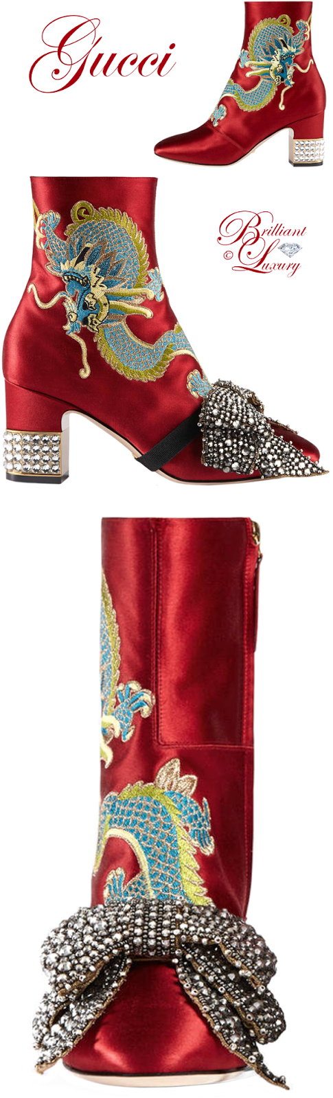 Brilliant Luxury ♦ Gucci Dragon Satin Mid-Heel Ankle Boot