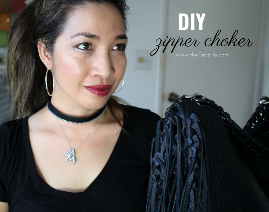 DIY zipper choker, how to make zipper choker, roberto cavalli fringe leather shoulder bag