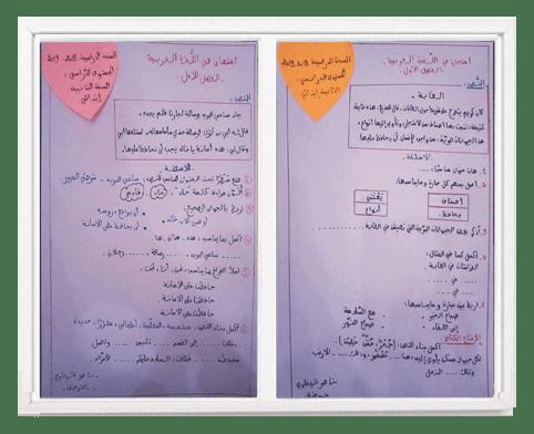 نموذجين امتحان اللغة العربية للفصل الأول للسنة الثانية ابتدائي
