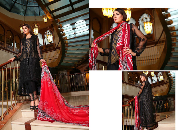 Nadia Hussain New Eid black & Red dresses collection