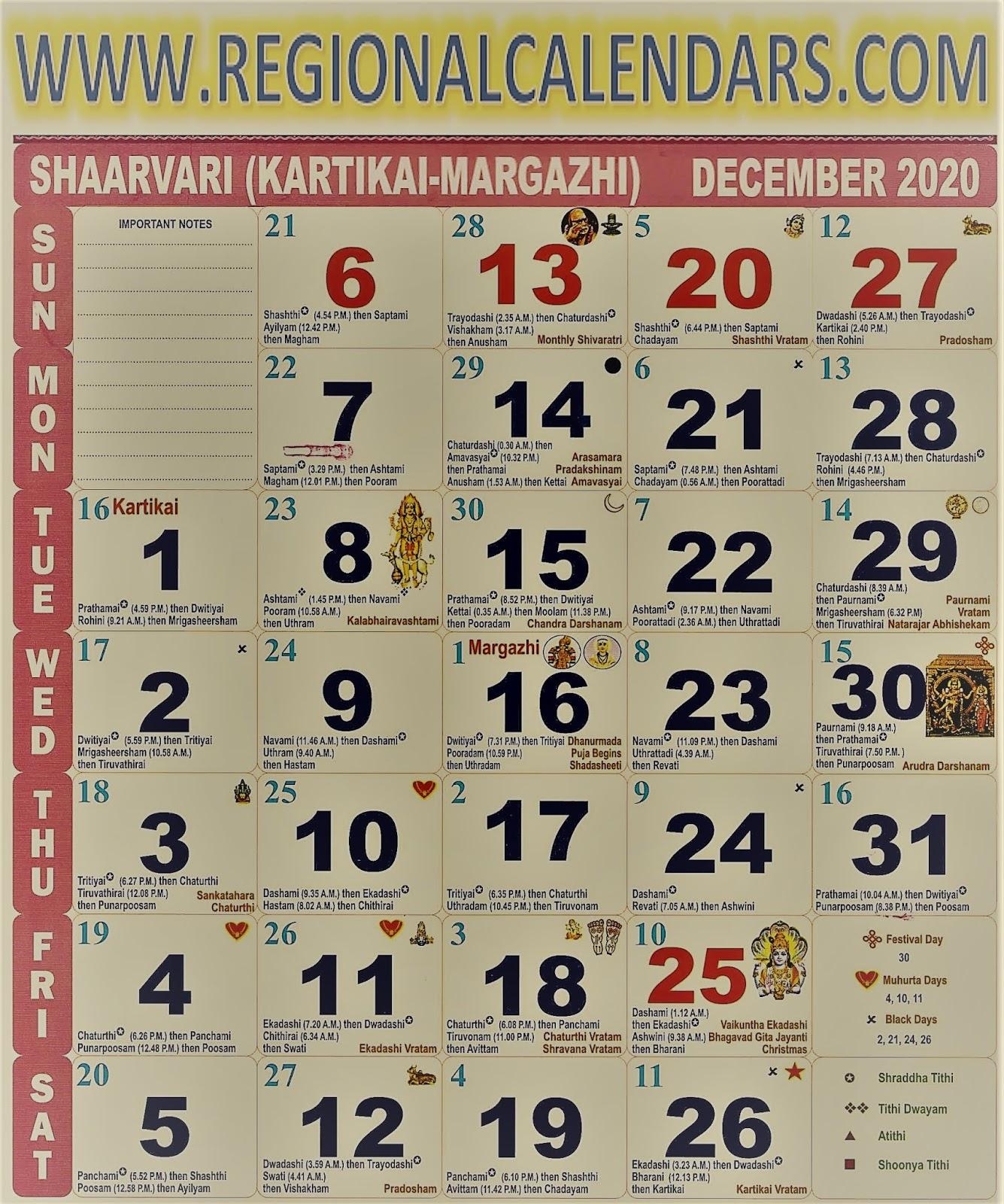 Tamil Calendar. December,2020.