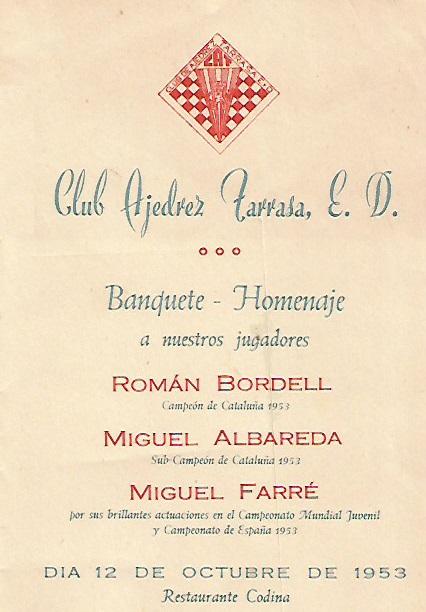 Invitación Homenaje a Albareda, Bordell y Farré en 1953