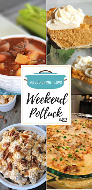 Weekend Potluck featured recipes include Slow Cooker Beef Stew, Apple Butter Pie, Caramel Apple Fluff, Creamy Chicken Bake, and more.