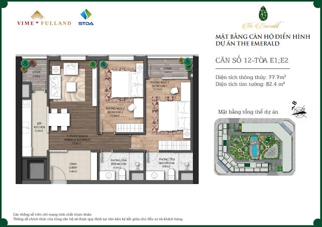 Căn 12 tòa E1 E2 The Emerald